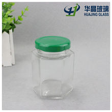 small 120ml hexagonal glass caviar glass jars container with tin lid