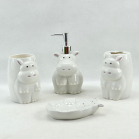 ceramic hippo kids accessories set for bathroom