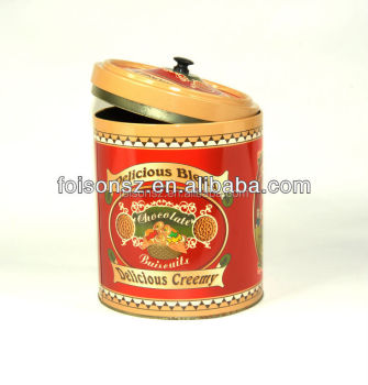 round shape large capacity tin box for tea or coffee