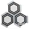 new design eastern white mix nero marquina mix thassos white big marble hexagon mosaic tile