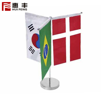 Two Flags Holder Printed Table Flag With Zinc Alloy Base
