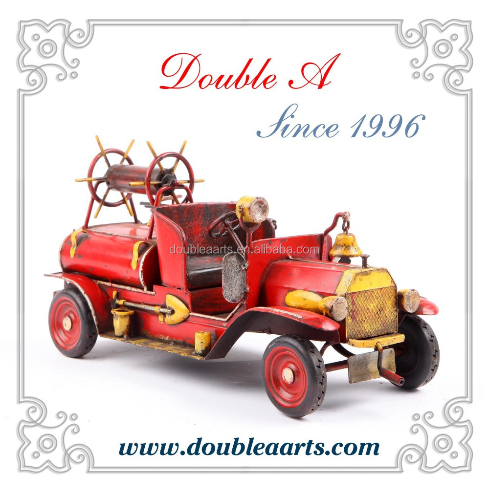 Vintage car model fire truck model iron crafts collection handmade artwork for home decor items