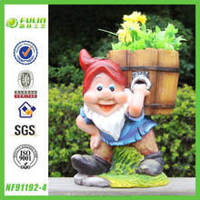 Gnome Carrying Pot Garden Oriental Flower Pots