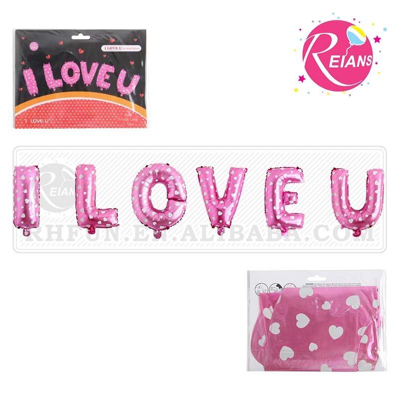 "Reians customized <strong>14</strong>"" I LOVE <strong>U</strong> balloons set happy wedding foil balloon decoration baloon party Supplies (Accept OEM,ODM)"