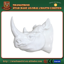 Custom made wholesales decorative fiberglass resin rhino head wall decor
