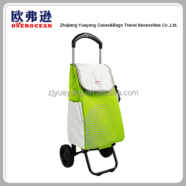 Cheap foldable vegetable shopping trolley replacement bag with 2 wheels