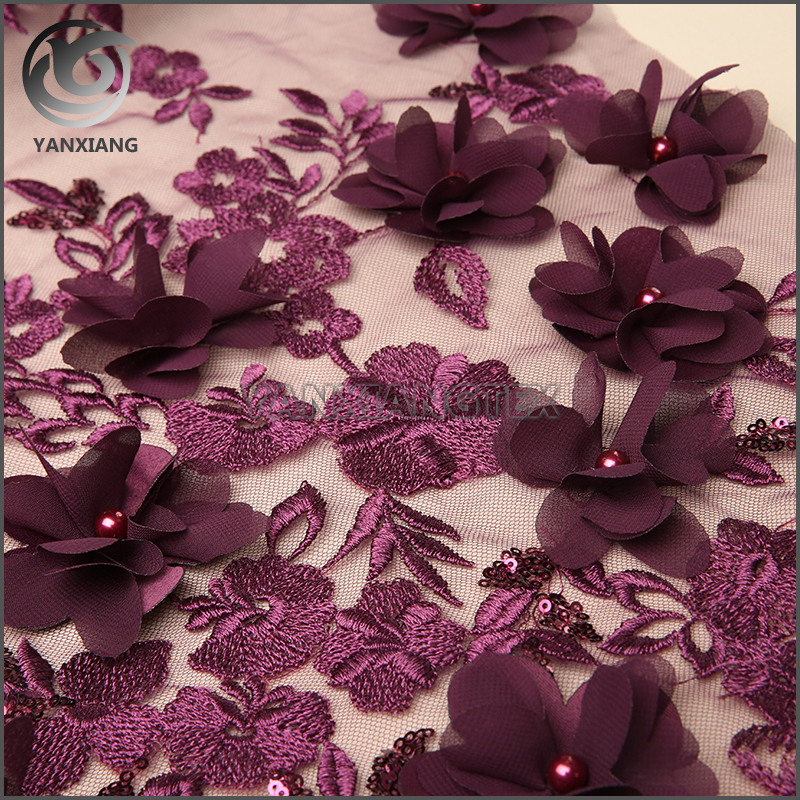 Professional 3D Purple Applique Polyester Embroidered Fabric