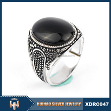 Low price Lucky Black stone silver 925 ring men wholesale