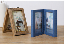 wholesales wooden vintage folding two sides photo frame