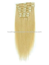 2014 silky soft blonde remy human hair Clip in Hair extention