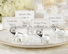 "wedding favors--""Lucky in Love"" Silver Elephant Place Card Holders"