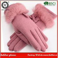 Wholesale Winter Finger Warm Ladies Rabbit Fur Cuff Thick Wool Gloves