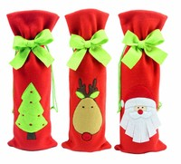 LX2667 Big discount fabric bottle cover xmas decoration christmas wine bottle cover