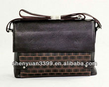 New Genuine Cow Leather Cross Body Bag Men's Dark coffee Shoulder Messenger Briefcase