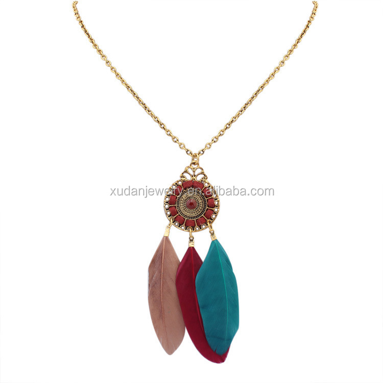 Vintage Boho Chic Feathers Tassel Necklace Accessories for Women Necklace