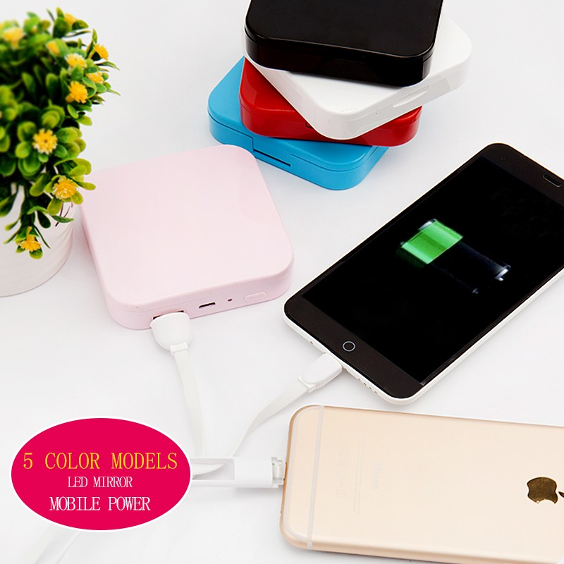 High <strong>Quality</strong> Compact Makeup Double Side Mirror Led Pocket Mirror Power Bank
