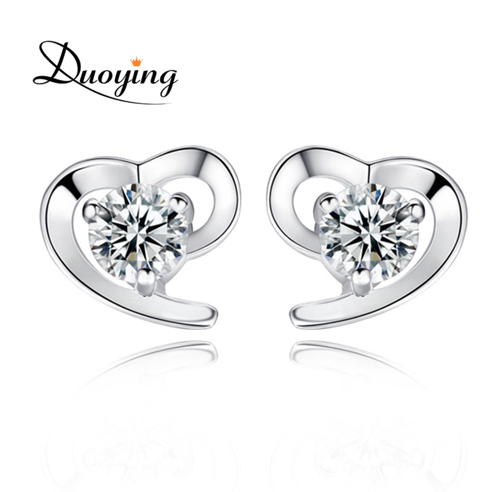 Top Design <strong>Earring</strong> Factory China Fashion <strong>Earring</strong> Jewelry Fancy Unique Heart Sterling Silver <strong>Earring</strong> with Brilliant Zircon