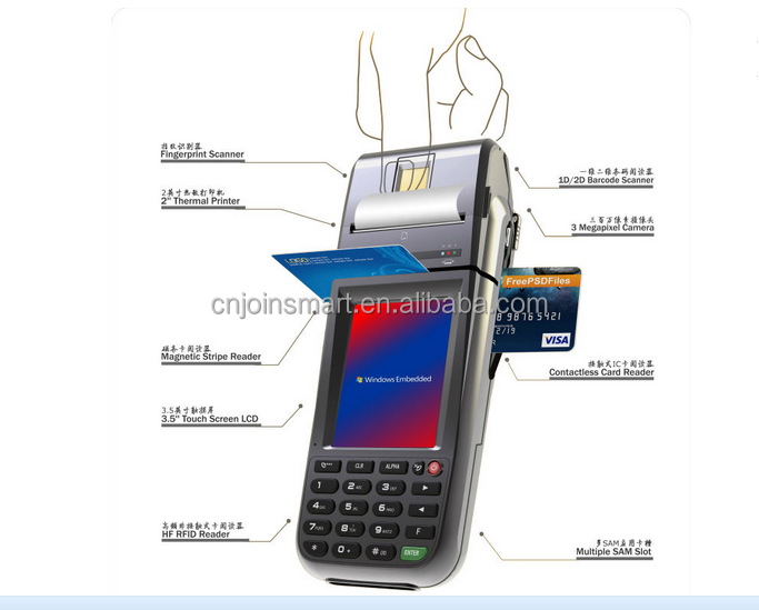 Wince 6.0 OS Support thermal printer 1D/2D bardcode scan handle PDA with finger printer function