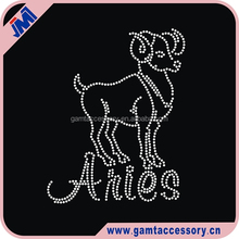 Fashion Constellation Hotfix rhinestone transfer iron on crystal Aries for clothes