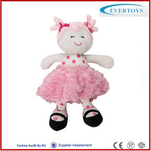 OEM custom pink dress plush dolls