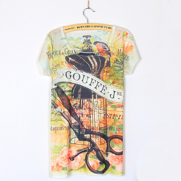 New Arrival 2015 Hot Sale Women T-shirts Birdcage Print Casual Short Sleeve Slim T Shirt Ladies Summer Style Tee Shirt Plus Size