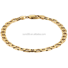 Heave Chain For Making Men's Bracelet, Gold Plated Stainless Steel Anchor Bracelet