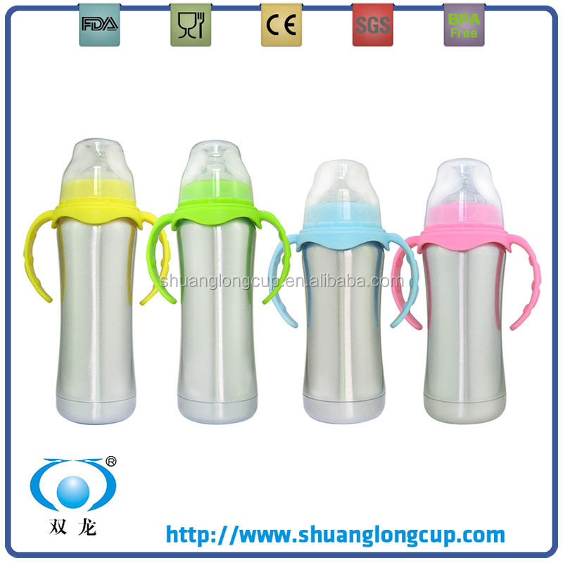 ECO-friendly Double Wall Stainless Steel 18/8 thermal Baby Bottle / Baby Feeding Bottle 6oz with Inner Embossed Scale