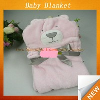 Hot Sale Super Soft Animal Head Plush Baby Blanket bear shape pink fleece baby soft thick fleece blanket Lyd-1030
