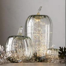 Transparent glass led pumpkin led light halloween glass pumpkin decoration