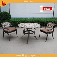 5 Piece garden furniture table set round table