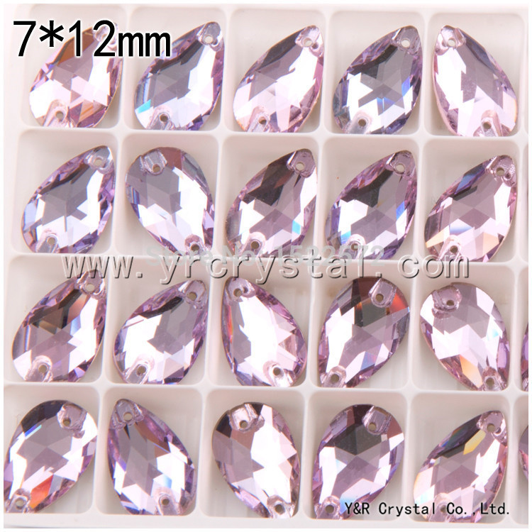 Free shipping drop Violet Color 7*12mm 240pcs flat back sew on crystal wholesale rhinestones
