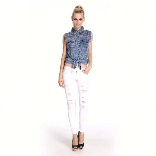 Factory Price Excellent Quality Trendy Jeans With Stones