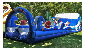 Hot Sale Giant Inflatable slide surf the wave slip and slide