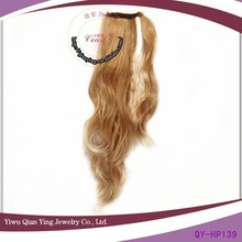 curly blond fake hair extension ponytail blond