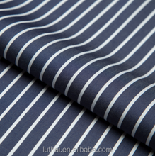 High quality Luthai 100% cotton men's shirt fabric with navy and white stripe 70s*70s 220*130