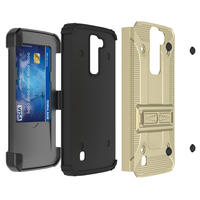 New Products 2016! [Rigid Defender]Dual Layer Heavy Duty Holster Built-in Credit Card Slot Clip Case with Kickstand For LG K7