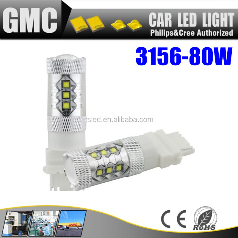 Super bright 80w 3156 Car led turn signal reversing tail light back up light car led bulb