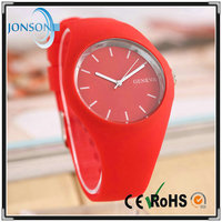Multi color geneva silicone jelly gel analog sports watch with OEM logo or stock logo