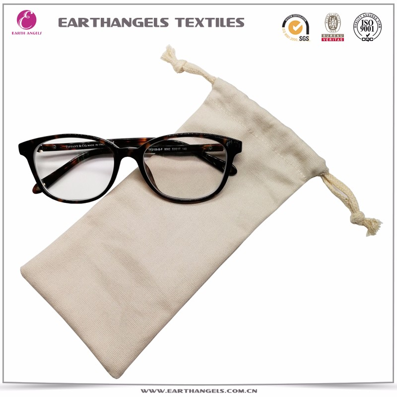 hot selling China manufacturer custom natural cotton sunglasses drawstring bags with logo