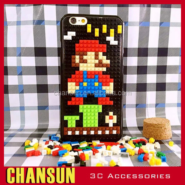 DIY building block mobile phone case ,wholesale cheap cute cartoon wood phone case for iPhone 6/6s