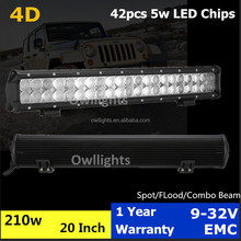 automobile parts aluminum housing double row 210w 20 inch 4x4 4d led light bar for truck wrangler