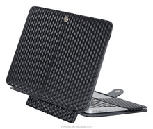 Mosis PU Leather Book Cover Clip On Folio Case with Stand Function Black 3D-Square Pattern Design