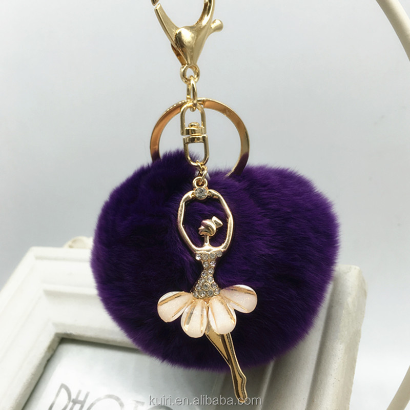 koreal style dancing ballet girls crystal keychain with dyed colour 8cm rex rabbit fur pom poms woman handbag pendant