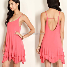 2017 Women Latest Clothing Designs Summer Red Casual Loose Fit Beach Wear Sexy Solid Knit Cutout Back Net Sexy Ladies Dresses