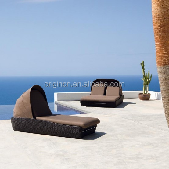 Single or double seat rattan chaise lounge with canopy outdoor beach chair sun shade