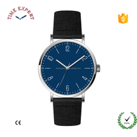 Very slim stainless steel case quartz watch with leather for man
