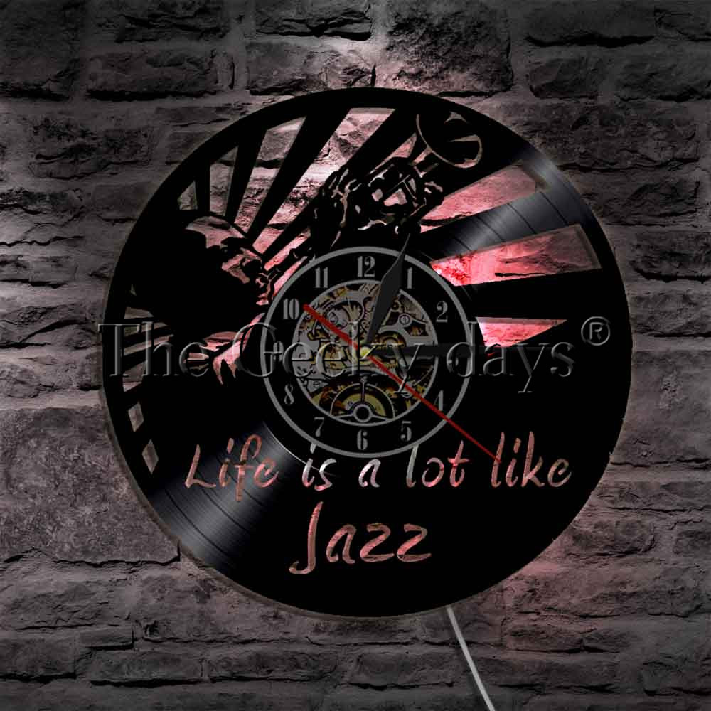 Jazz Is A Lot Like Life Vinyl Clock Music Notes Vintage Wall Clock Jazz Art Music Laser Cut Decorate Wall Clock