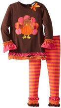 Thanksgiving day brown turkey embroidered stripe ruffle festival girls ruffle clothing