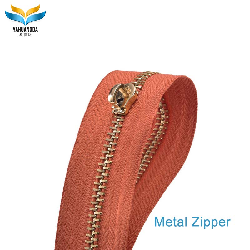 luxury custom leather design metal zipper with metal slider for bag making accessories