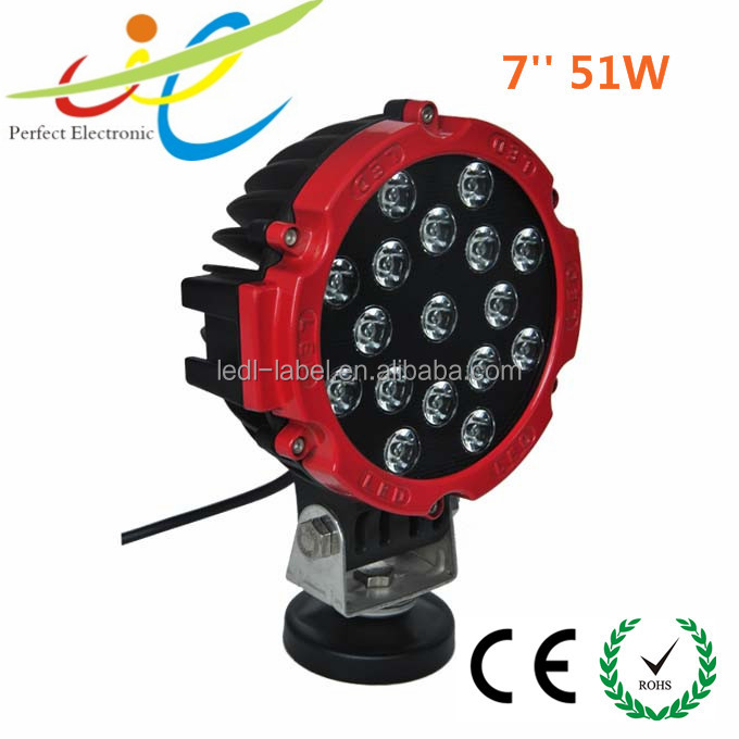 China factory 51W LED Work Light Lamp Off Road lighting Truck 4x4 4WD Jeep Boat